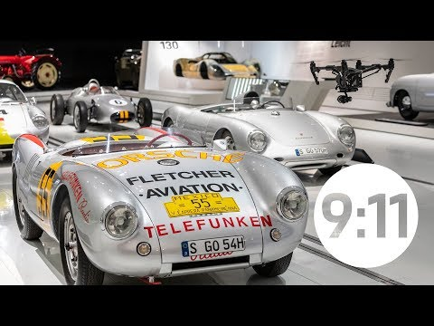 In the Porsche Museum by night: A camera drone encounters legendary Porsche vehicles.