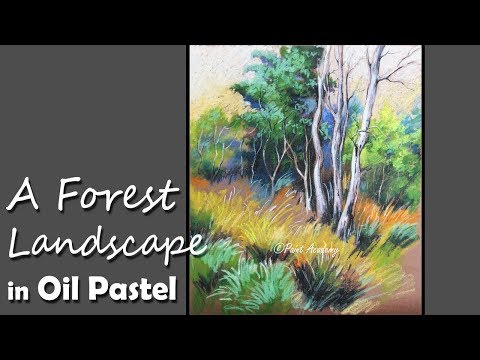 Oil Pastel Painting | A Forest Landscape in Brown Paper