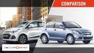 Comparison Video- 2015 Maruti Suzuki Swift Dzire Vs Hyundai Xcent