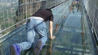 Tourists Brave Glass-Bottom Bridge