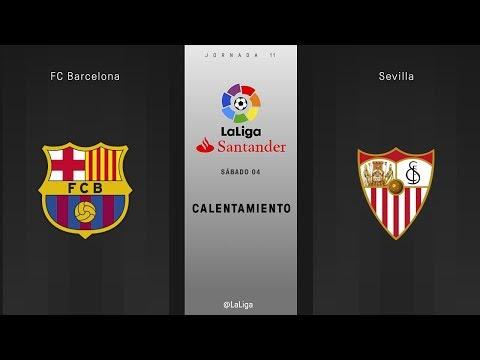 Calentamiento FC Barcelona vs Sevilla