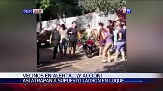 Vecinos atrapan a supuesto asaltante en Luque