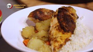 Receta Ají: Pollo asado en cama de vegetales