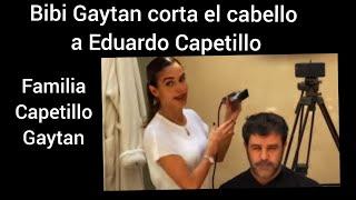 Biby Gaytan corta el cabello a Eduardo Capetillo en cuarentena