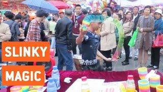 Street Performer Shows Off Slinky Skills