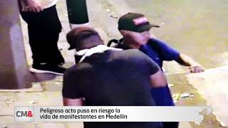 Peligroso acto puso en riesgo la vida de manifestantes en Medellín