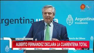 Cuarentena total en Argentina por el coronavirus: la conferencia del presidente Alberto Fernandez
