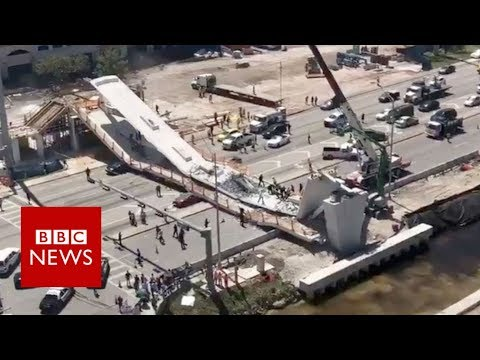 connectYoutube - Miami rescue workers search for survivors after bridge collapse - BBC News