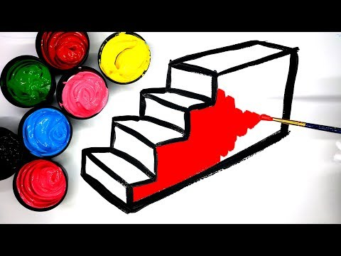How to draw Stairs with Paint, painting a dress watermelon and dinosaur coloring pages, LEARN COLORS