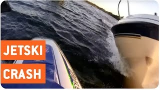 Jet Skier and Boat Crash Head On