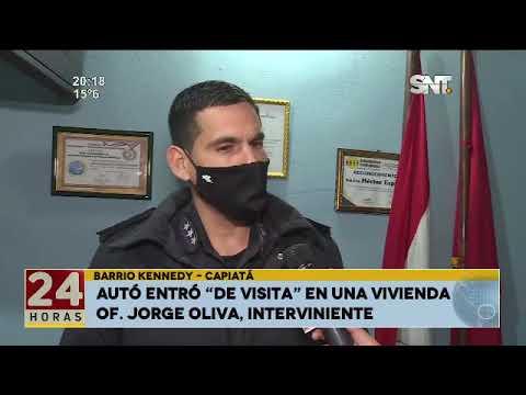 Capiatá:  Auto chocó contra una vivienda Un auto chocó contra una vivienda en Capiatá