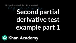 Second partial derivative test example, part 1