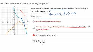 Examples using derivative to make claims about function