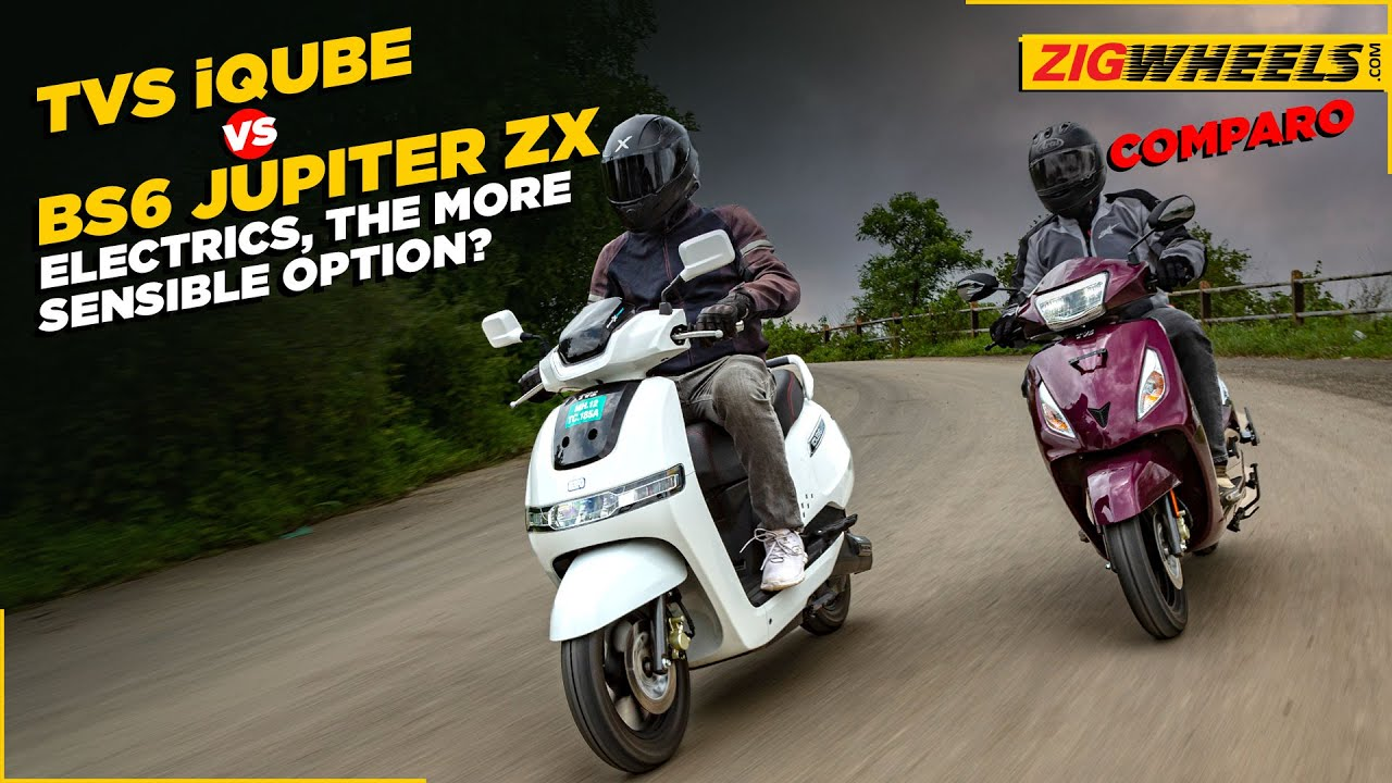 TVS iQube Electric vs BS6 Jupiter ZX   Which One Should You Choose?   BikeDekho.com