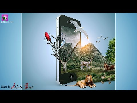 3D Smart Phone ( Mobile) Pop Out Effect - The Jungle On Mobile - Photo Manipulation