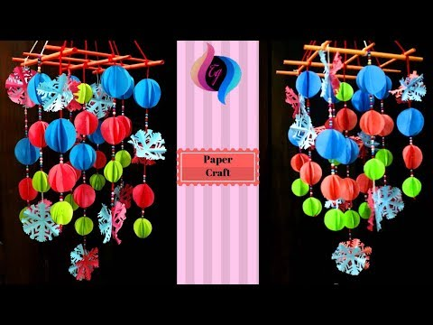 DIY christmas decoration - How to make wind chimes out of paper - Easy paper christmas decorations