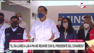 Presidente Martín Vizcarra confirma que este lunes se reunirá con titular del Congreso
