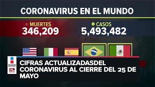 Estadísticas de coronavirus en el mundo (25 de mayo)