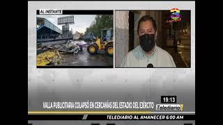 Valla publicitaria colapsó en cercanías del estadio del ejército