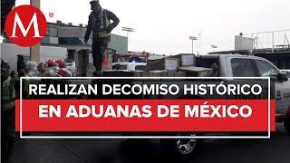 Aduanas y Semar realizan decomiso histórico de 1 tonelada de cocaína en el AICM