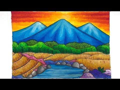 Martias Db21 Cara Mewarnai Gambar Pemandangan Dengan Crayon