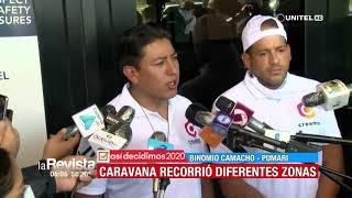 Camacho y Pumari recorrieron las calles de Cochabamba en una caravana