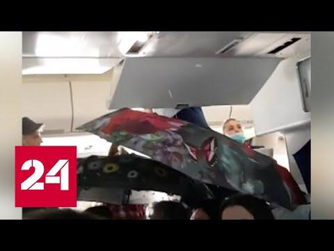 Из-за дождя в самолете пассажирам пришлось лететь с зонтами