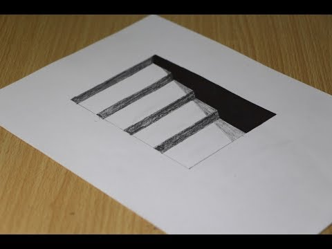 how to draw 3D hole for kids - Step by step