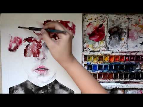 Speed Up Watercolor Portrait Painting - Untitled