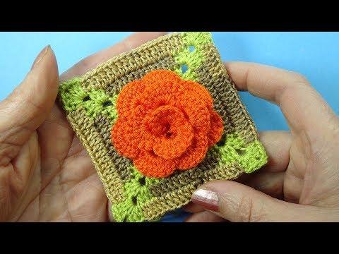 Новый цветочный мотив крючком Crochet flower square pattern Вязание крючком 380