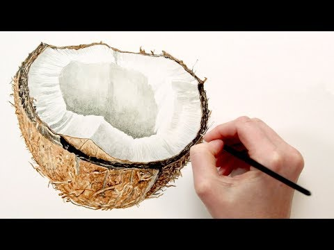 Painting the hairy texture to a Coconut Shell in watercolor with Anna Mason
