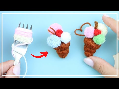 Сладкое Мороженое — Подвеска из Помпонов 🍧🧶🍧 Sweet Ice Cream — Charm of Yarn Making 🌟 DIY NataliDoma
