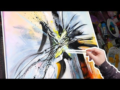 Abstract Art Demonstration - acrylic painting | Smile | John Beckley