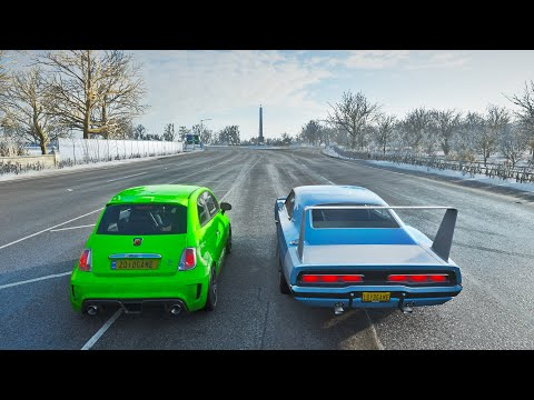 RAIZ VS NUTELLA   Dodge Charger Daytona Hemi VS Abarth 695 Biposto   Forza Horizon 4