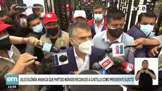 Julio Guzmán anuncia que Partido Morado reconoce a Pedro Castillo como presidente electo