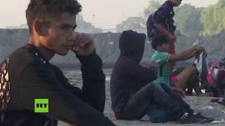 Caravana de migrantes se reduce en la frontera entre Guatemala y México