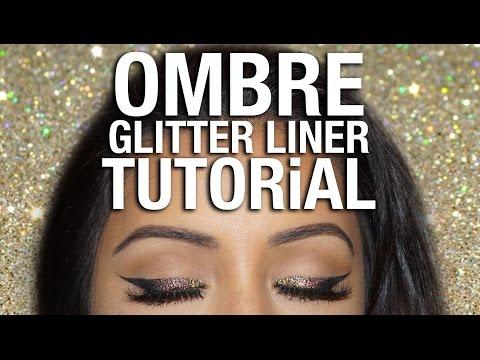 OMBRE Glitter Eyeliner Tutorial   Party Makeup Look 2016