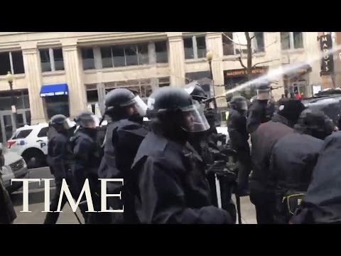 Police Use Pepper Spray At Demonstrations Outside Donald Trump's Inauguration   TIME