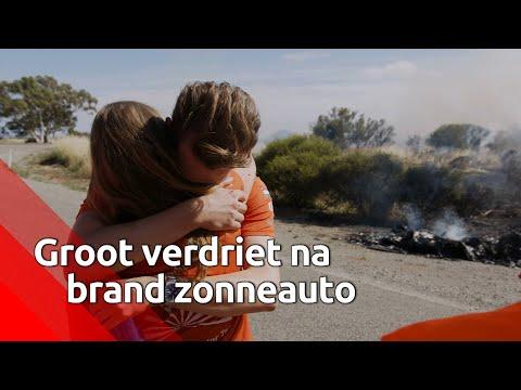 Veel emoties nadat de zonneauto van Joost en Bruno in vlammen opging.