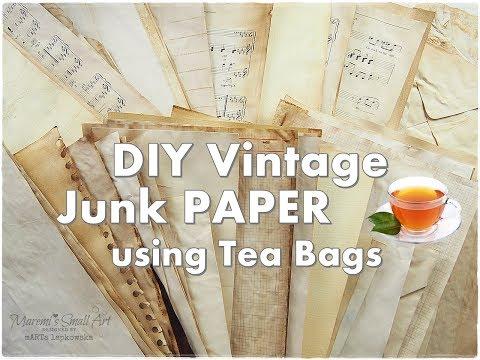 DIY Vintage Junk Paper using TEA bags ♡ Maremi's Small Art ♡