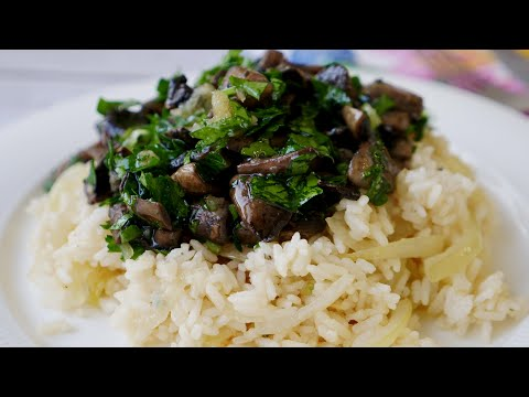 Чесночные грибы с вкусным рисом | Постный обед