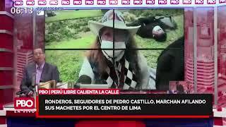 Ronderos seguidores de Castillo marchan afilando sus machetes por el centro de Lima | PBO Willax