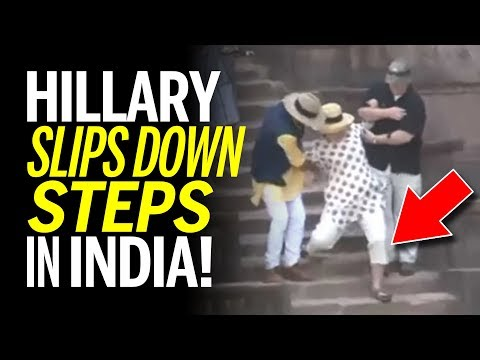 Hillary Clinton Slips Down Steps In India at Palace... AGAIN! (REACTION)