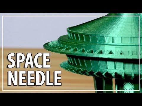 3D Printing a FIVE FOOT TALL Seattle Space Needle! Emerald City filament / gMax 1.5XT+ & Raise3D N2+