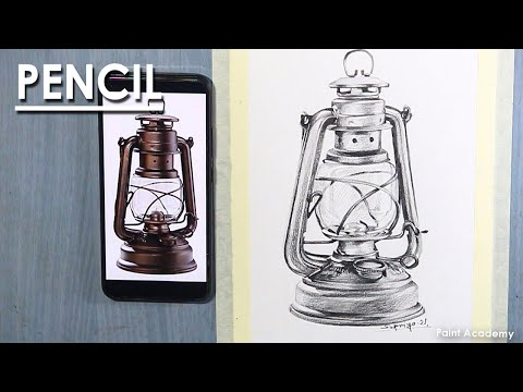 How to Draw Old Lantern in Pencil | Hurricane Lamp drawing | steps to follow