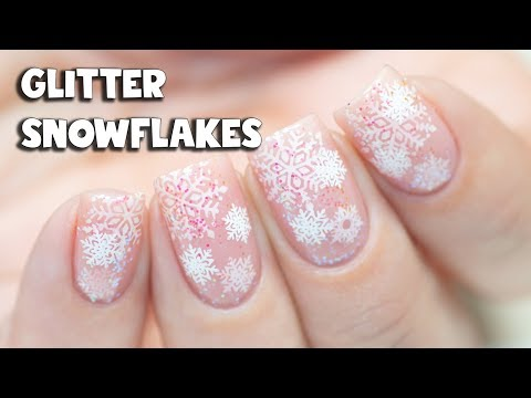 Glitter Snowflakes Nail Art | Indigo Pixel Emerald