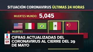 Estadísticas de coronavirus en el mundo (29 de mayo)