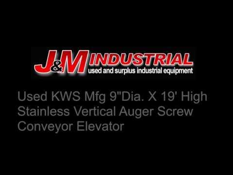 "Used KWS Mfg 9""Dia. X 19' High Stainless Vertical Auger Screw Conveyor Elevator"