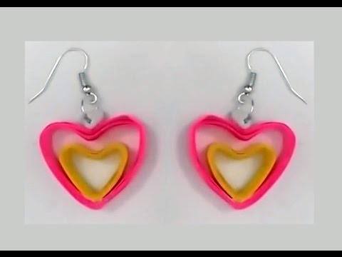 Heart Shape Quilling Earrings Making Tutorials Papers Earring Video