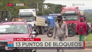 Policía reporta 13 puntos de bloqueo en Cochabamba hacia oriente y occidente